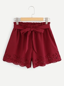 Tie Waist Hollow Out Shorts