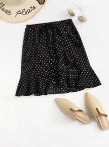 Ruffle Hem Drawstring Waist Polka Dot Skirt