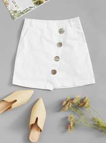Solid Button Detail Skirt