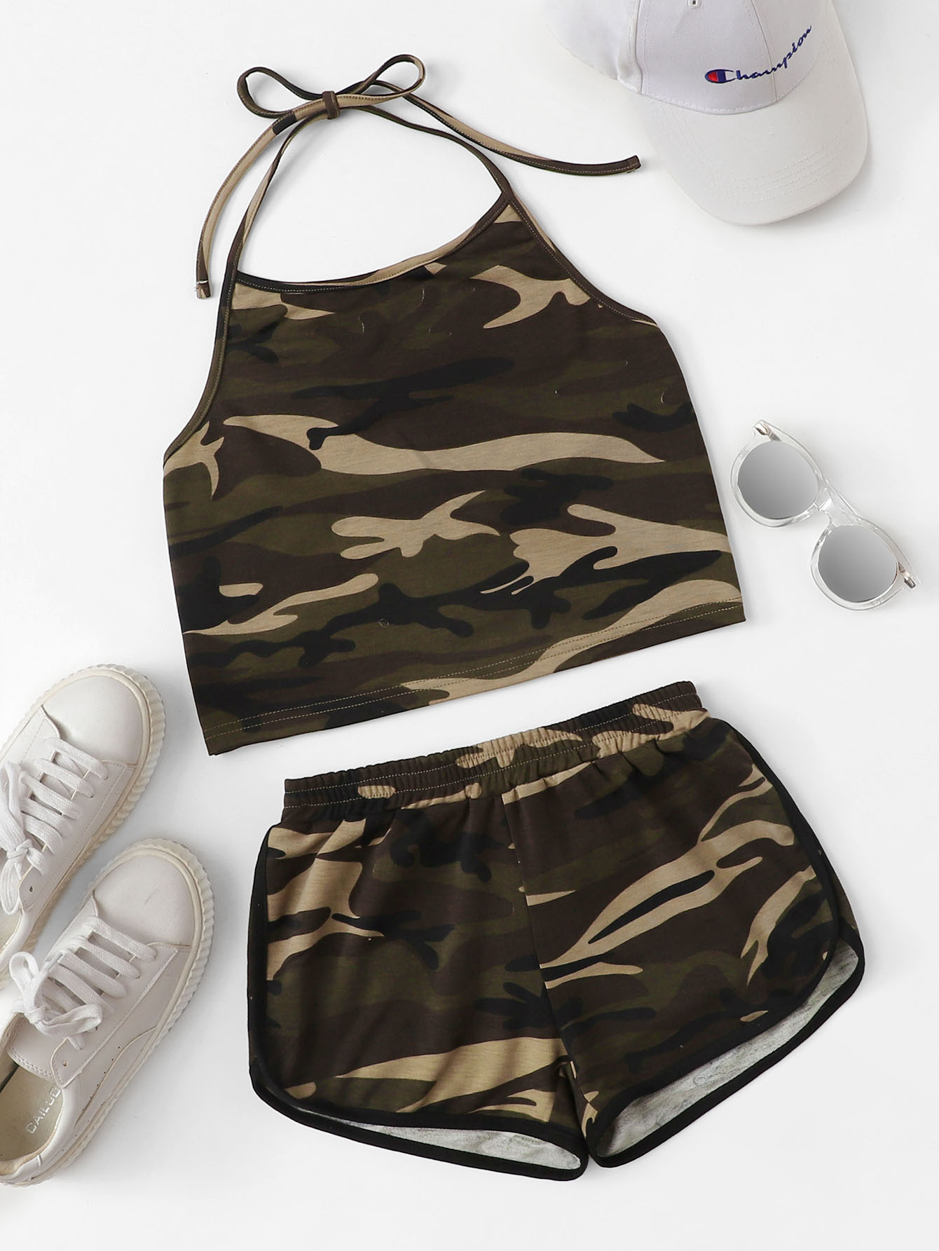 Camo Print Halter Top With Shorts