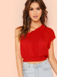 One Shoulder Frill Trim Crop Top