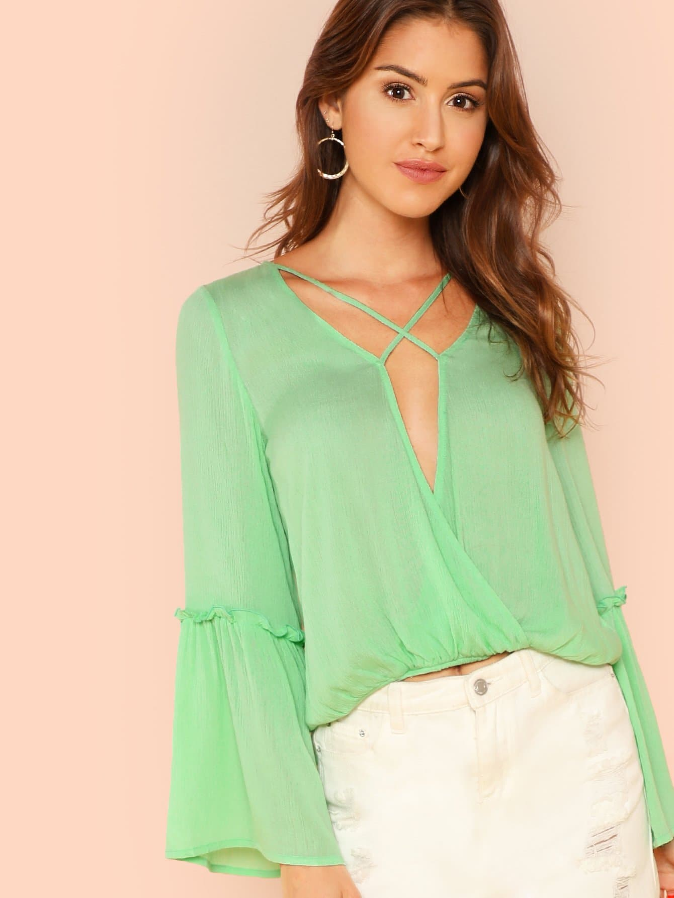 Купить Рубашка с коротким рукавом, Gigi Paris, SheIn