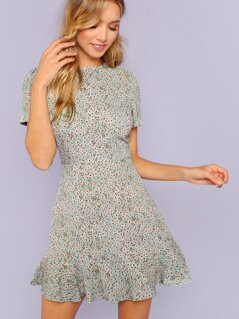 Ditsy Floral Flounce Hem Dress