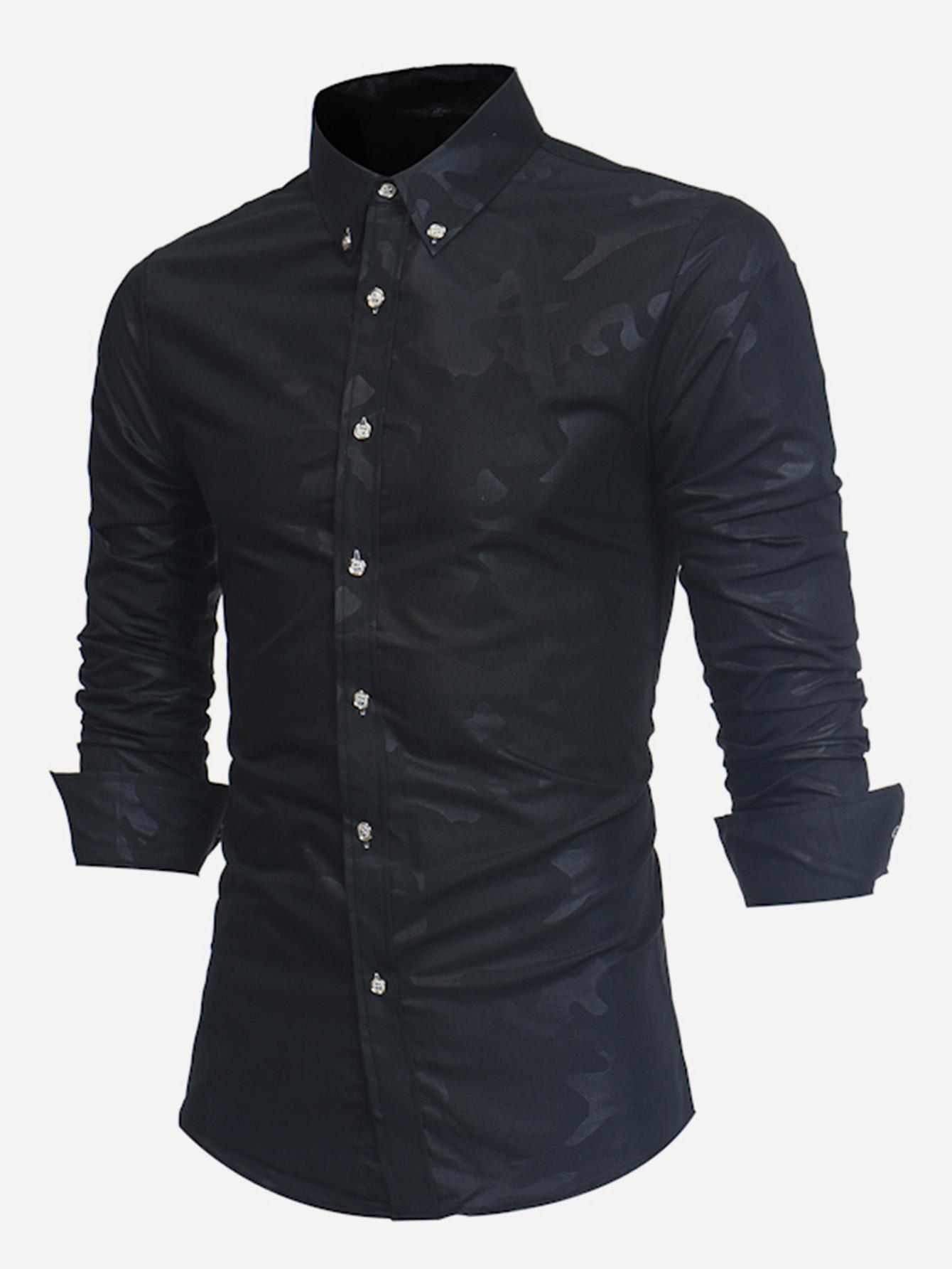 Купить Простая футболка и с украшением пуговицы для мужчины, null, SheIn