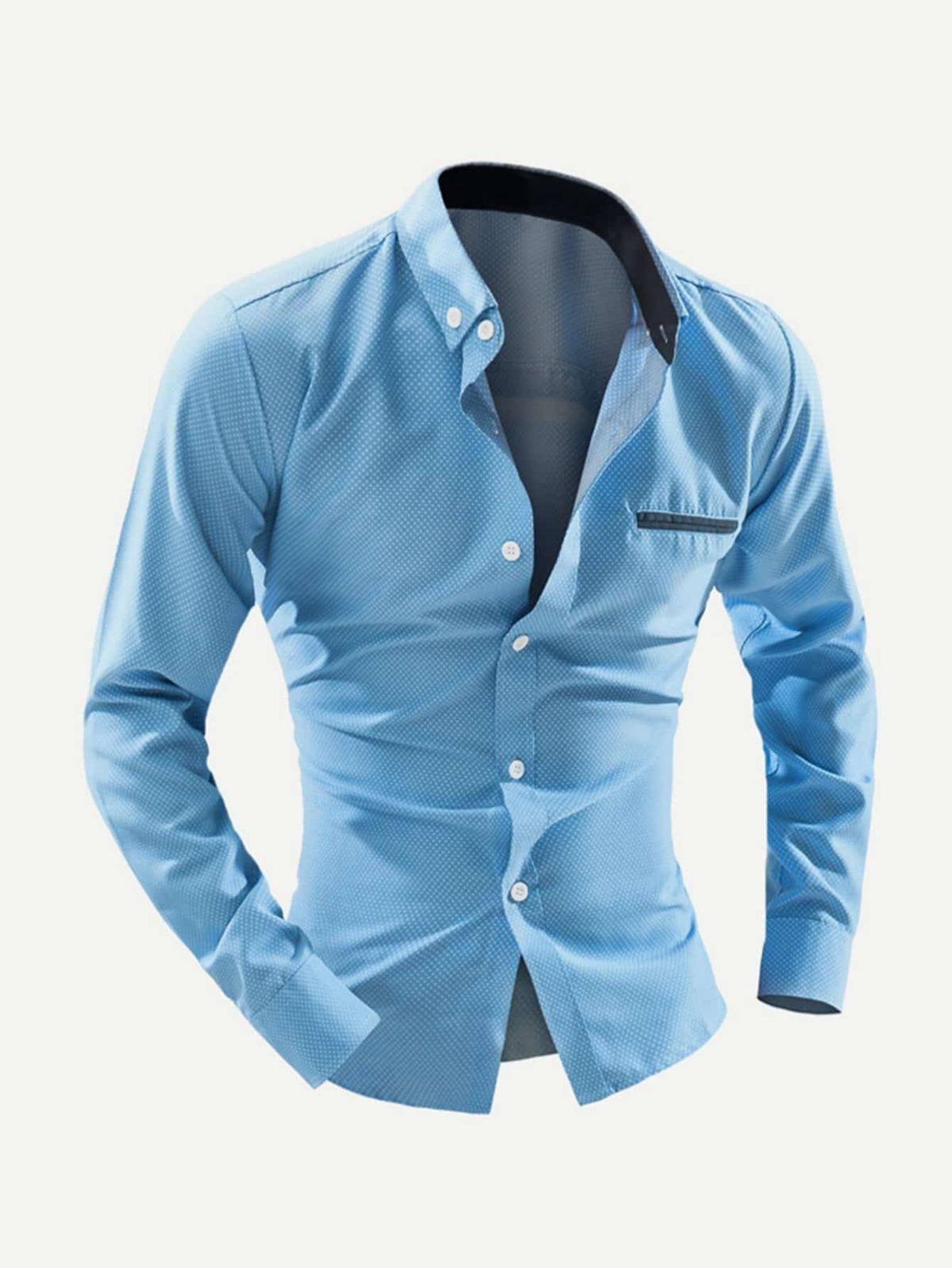 男人 口袋 裝飾 波卡點點 襯衫