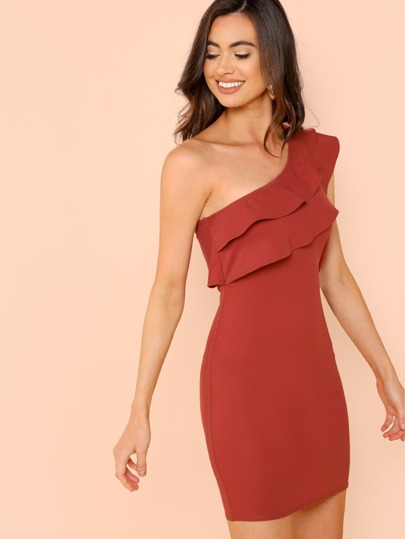 51ff884cbea One Shoulder Tiered Ruffle Fitting Dress | SHEIN IN