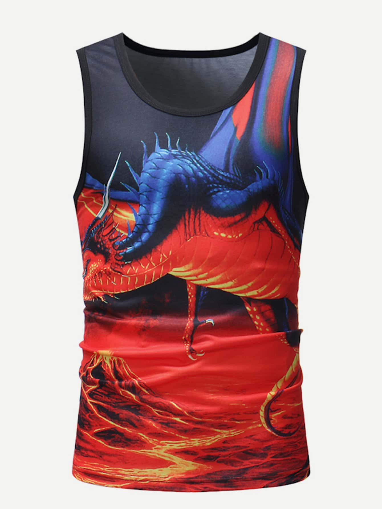 Men Dragon Print Vest arts clothing embroidery dragon nanquan performing dragon sleeveless clothes made of men