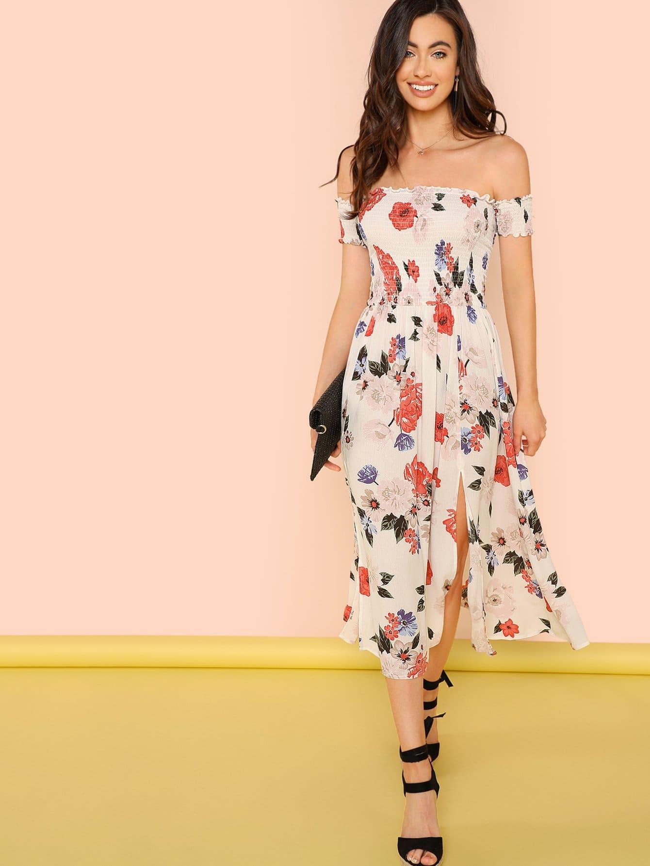 Купить Платье Bardot с надписью Slit Side Daisy, Kelli S., SheIn
