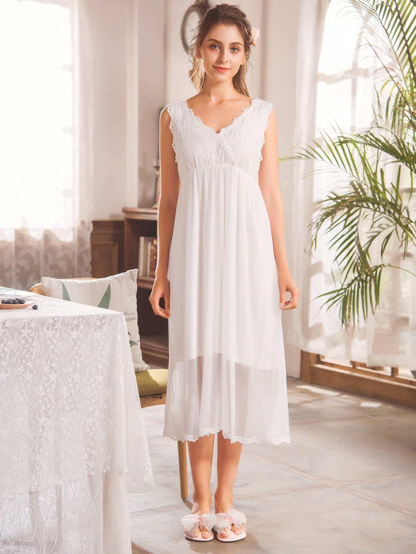 Купить Симметрическая кружевная сетчатая ночная сорочка, null, SheIn