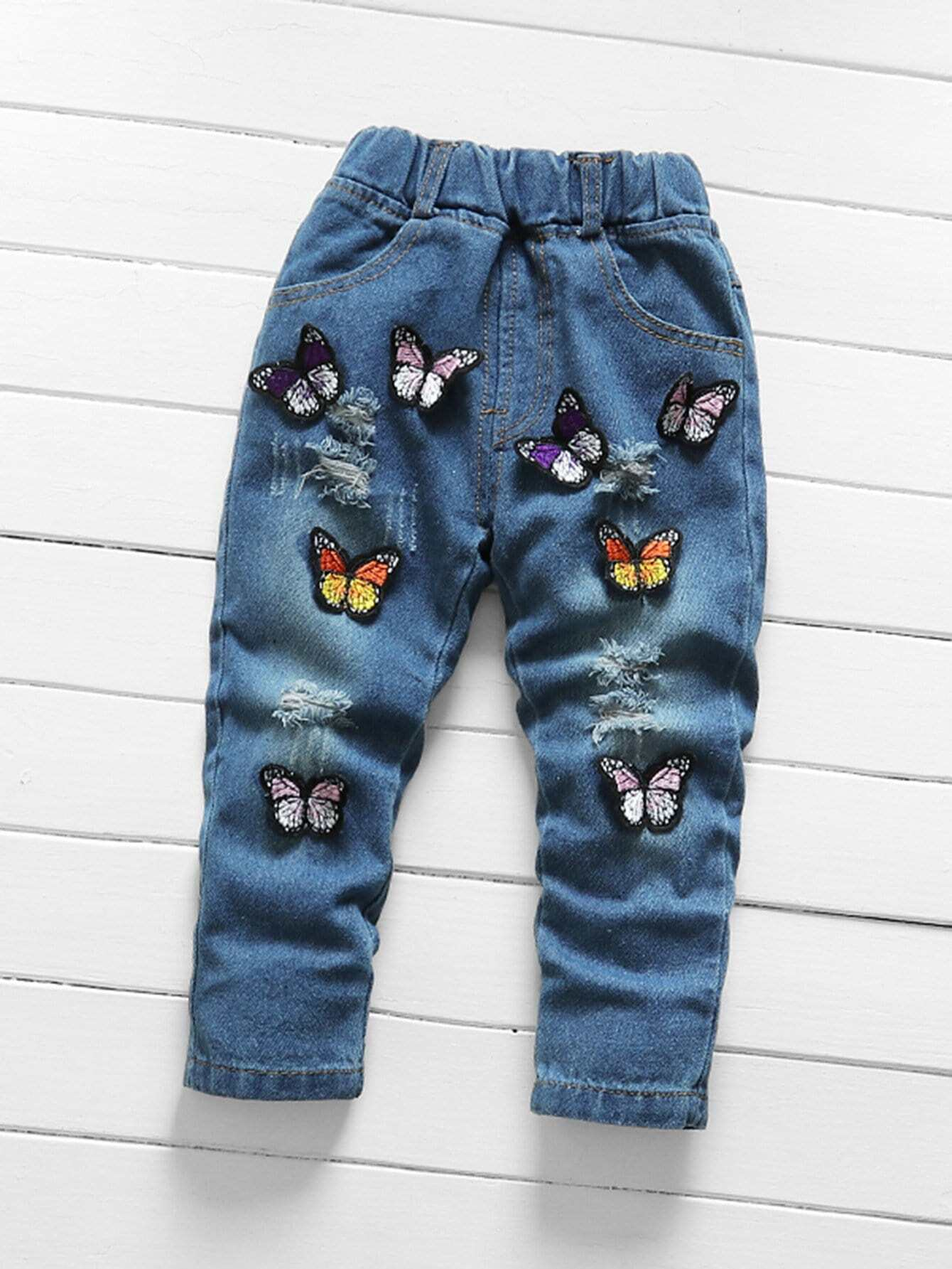 Girls Butterfly Destroyed Roll Hem Jeans