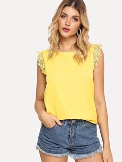 Lace Trim Shell Top