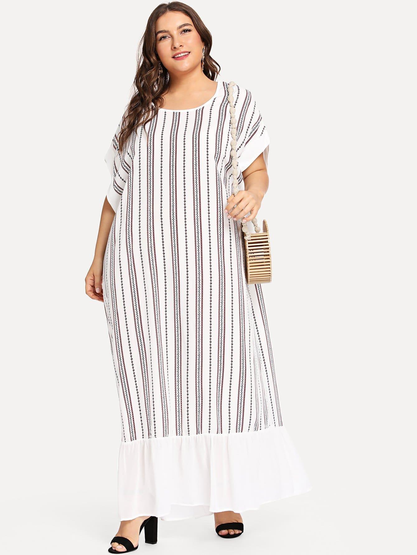 Платье из шифона Ruffle Hem Striped Maxi