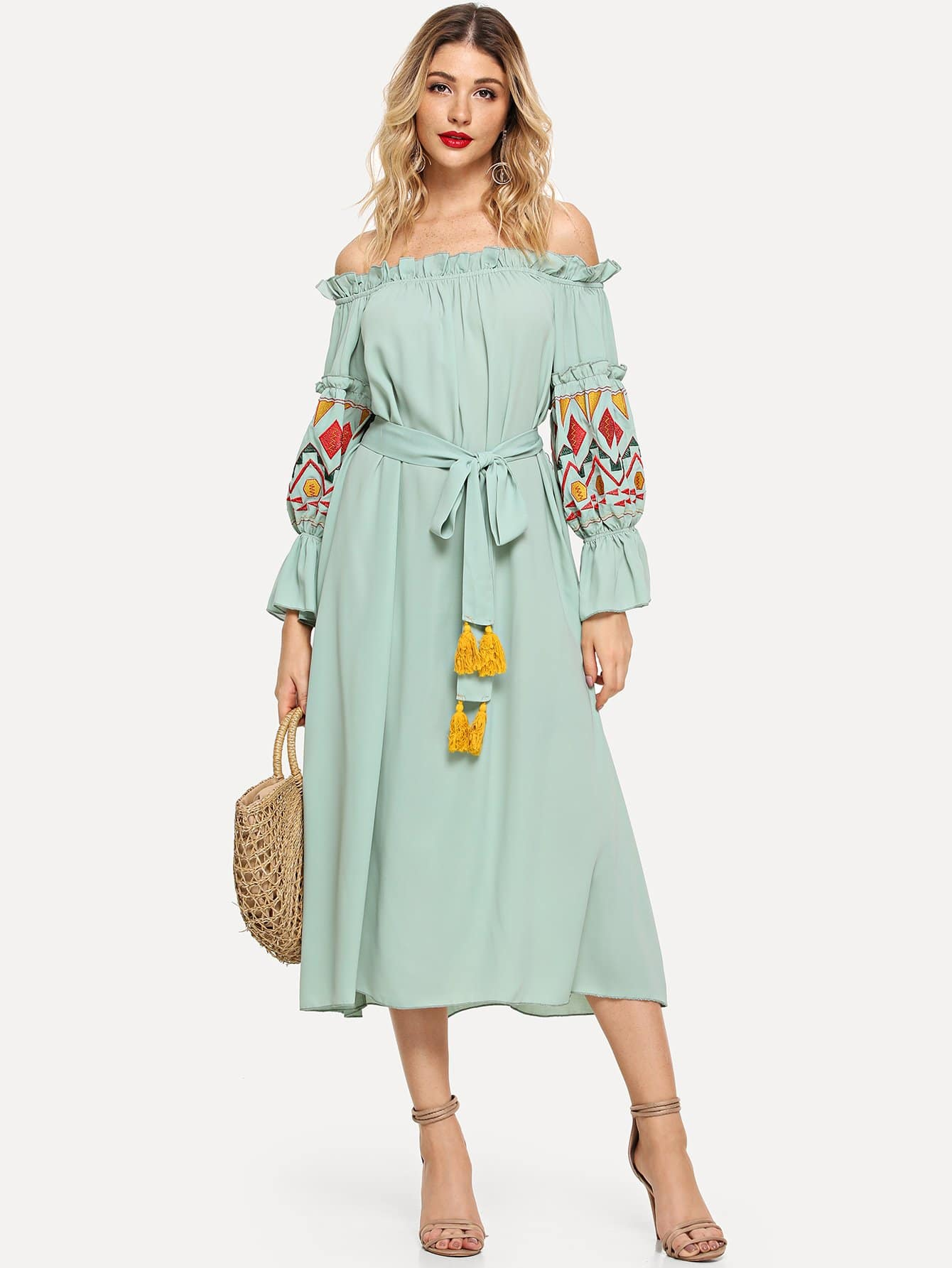 Embroidered Lantern Sleeve Bardot Dress with Tassel Belt new aconfishing brands pe supper strong braided fishing line 300m 0 10mm 0 55mm spectra sea fishing 6lb 80lb braid wires