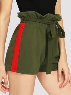 Cut And Sew Frill Waist Shorts