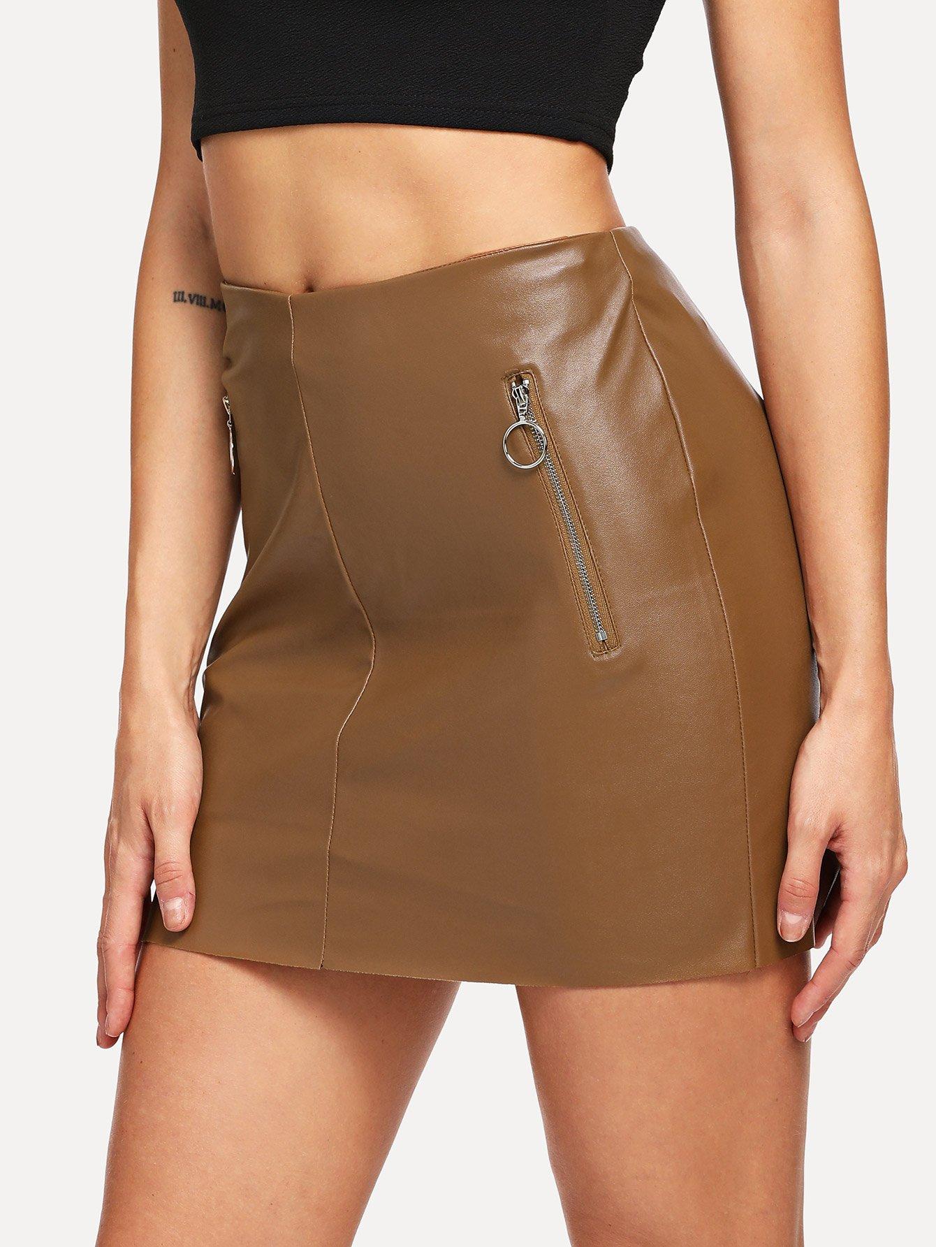 Купить O-Ring Zip Detail Искусственная кожаная юбка, Masha, SheIn