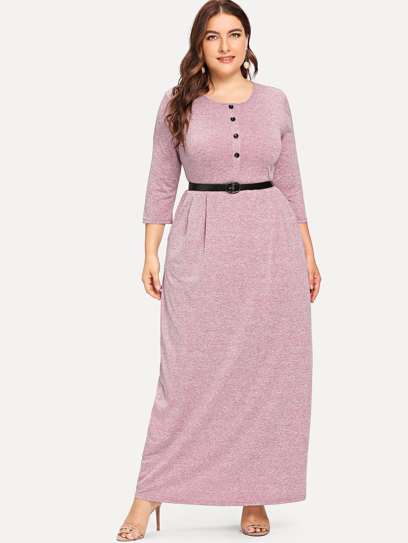 Розовые Пуговица Одноцветный Повседневные Платья размера плюс