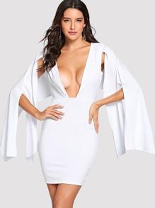 Deep V Neck Split Sleeve Dress