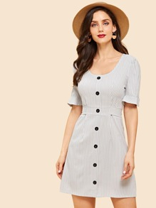 Single Breasted Knot Back Striped Dress