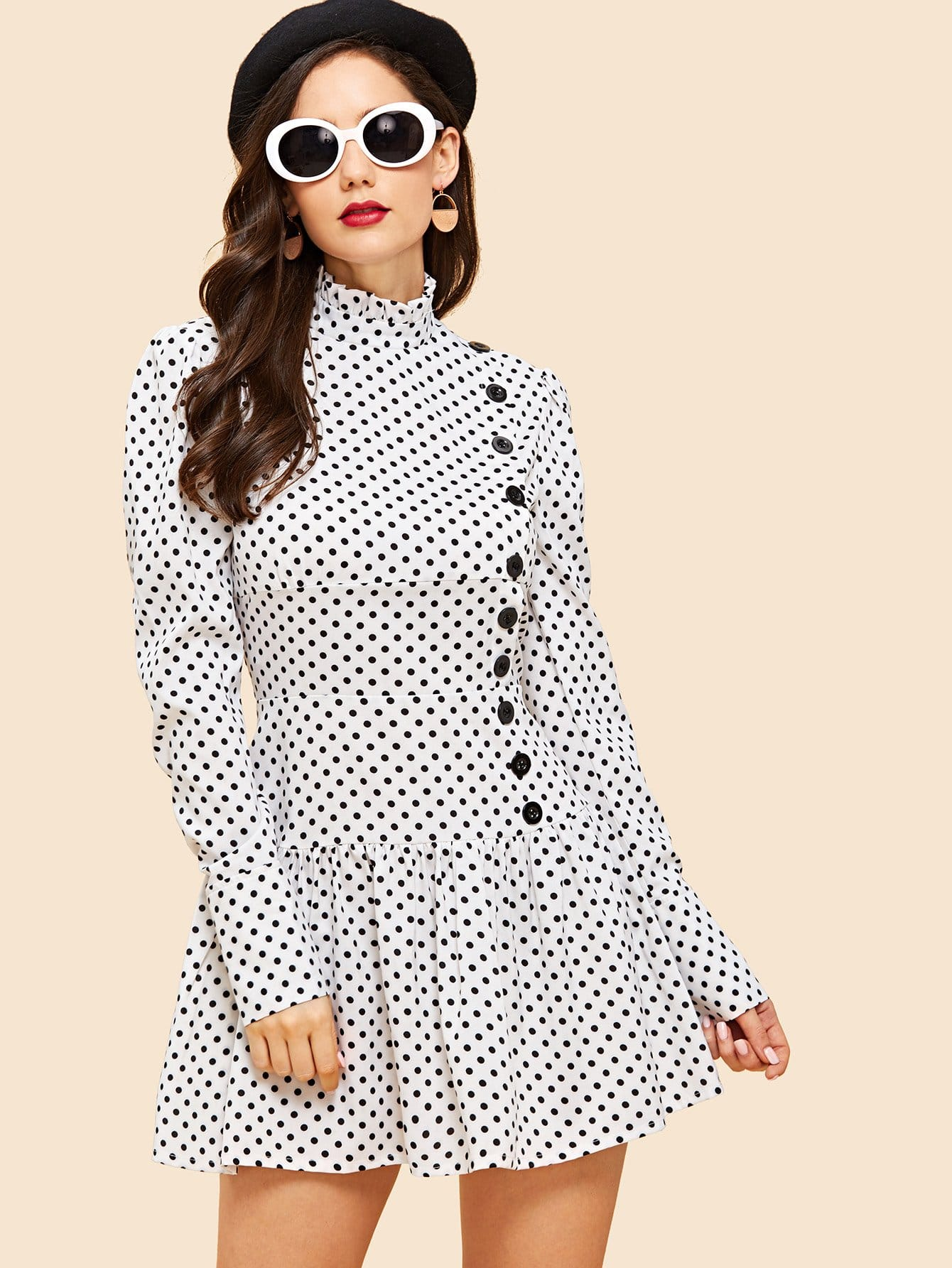 Single Breasted Polka Dot Dress kanna kv6144