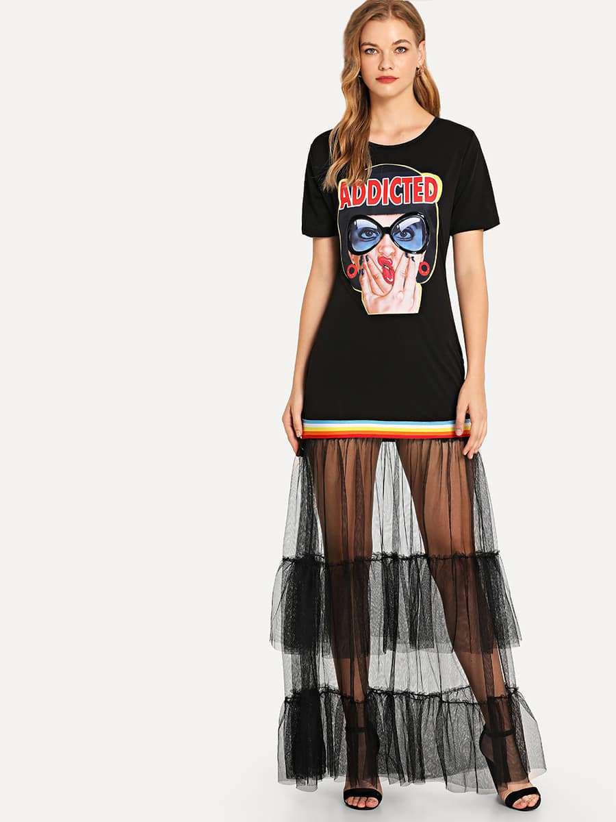 Figure Print Sheer Mesh Panel Tee Dress skull print sheer mesh dress