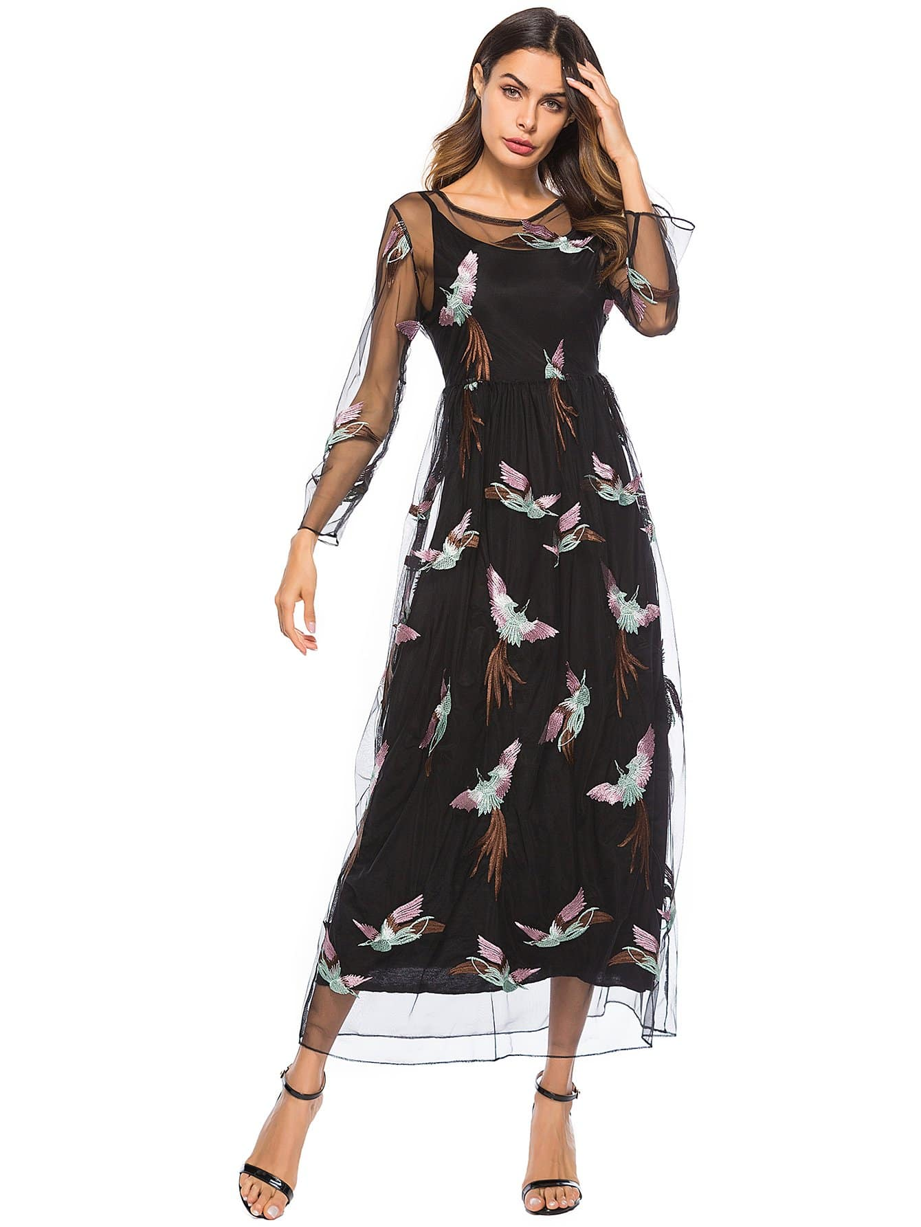 Sheer Mesh Animal Embroidered Dress embroidered mesh sheer dress without lingerie dress