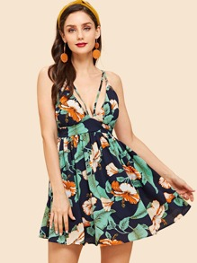 Criss Cross Back Floral Print Cami Dress