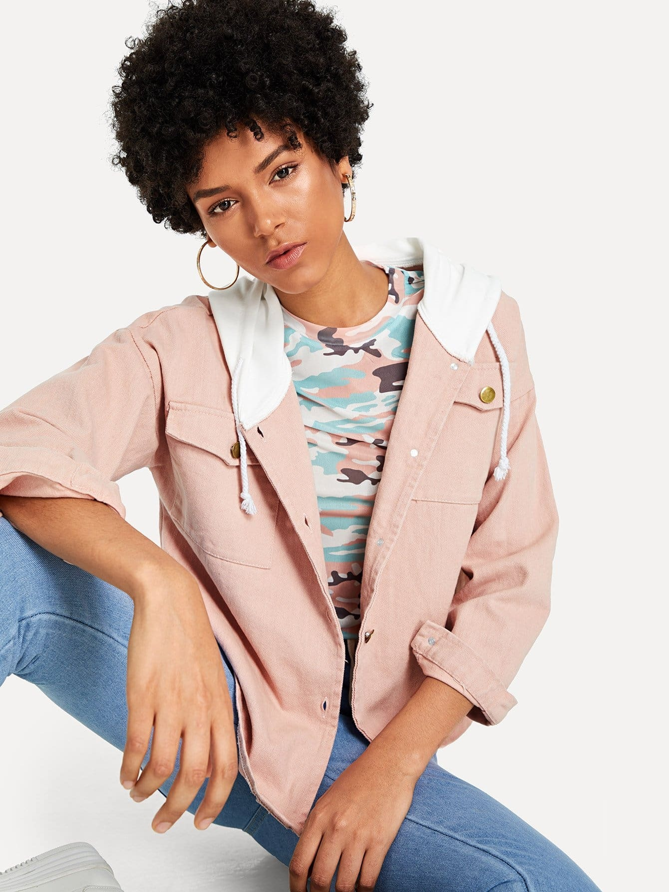 Купить Повседневный Одноцветный на пуговицах Розовый Жакеты + Куртки, Ana, SheIn