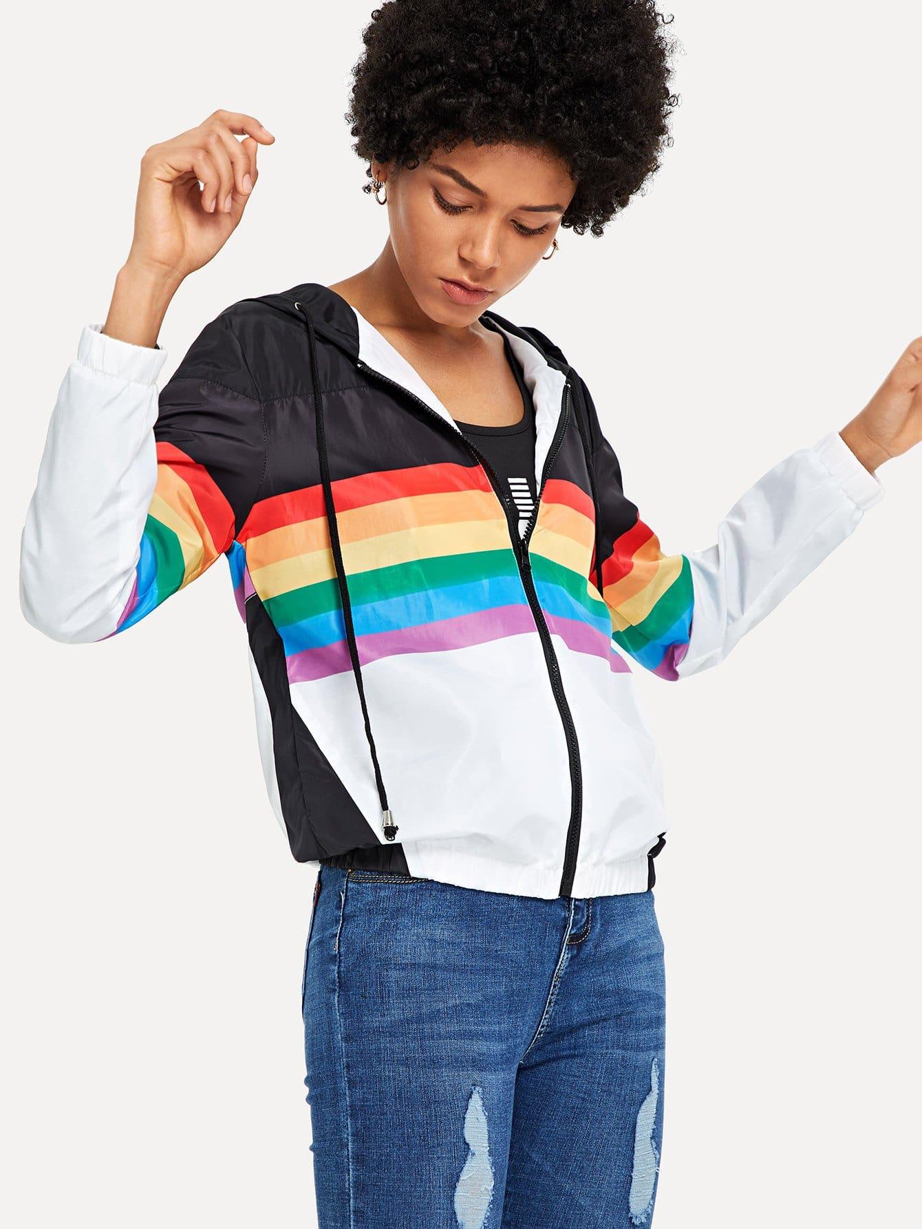 Купить Повседневный Полосатый на молнии Куртка с копюшоном Многоцветный Жакеты + Куртки, Ana, SheIn