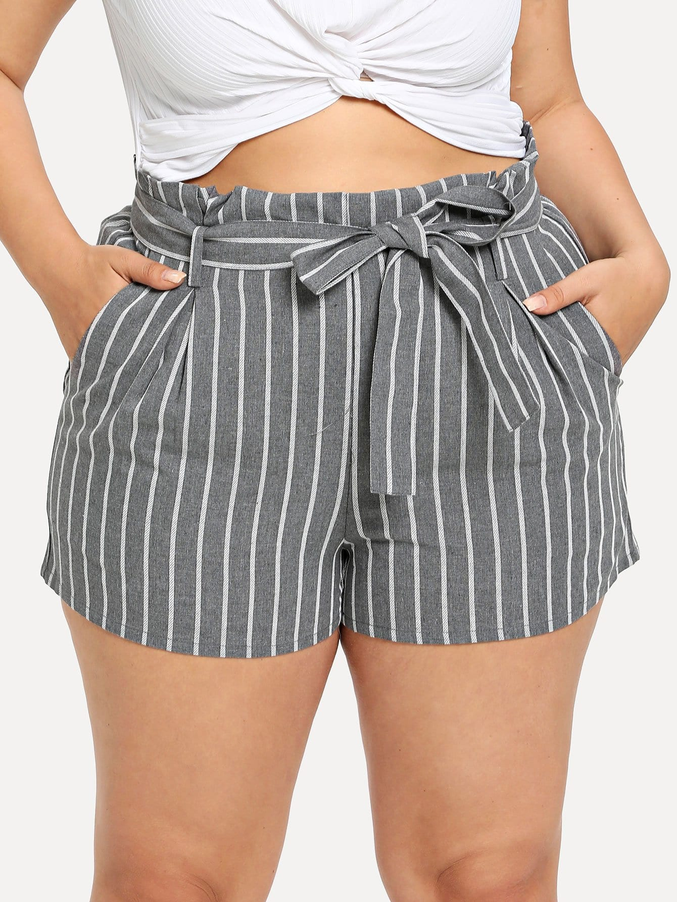 Plus Striped Belted Pocket Shorts
