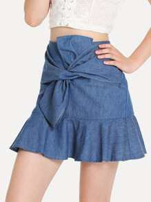 Knot Front Ruffle Hem Skirt