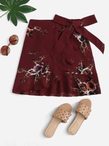 Knot Side Floral Print Ruffle Hem Skirt