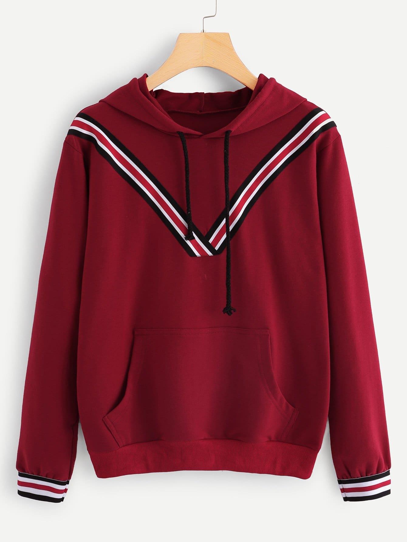 Купить Повседневный Полосатые изображения на кулиске Пуловеры Бордовый Свитшоты, null, SheIn