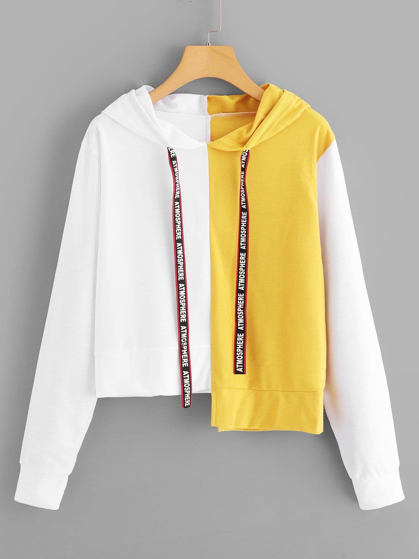 Купить Повседневный на кулиске Пуловеры Многоцветный Свитшоты, null, SheIn