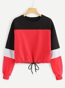 Drawstring Hem Color Block Sweatshirt