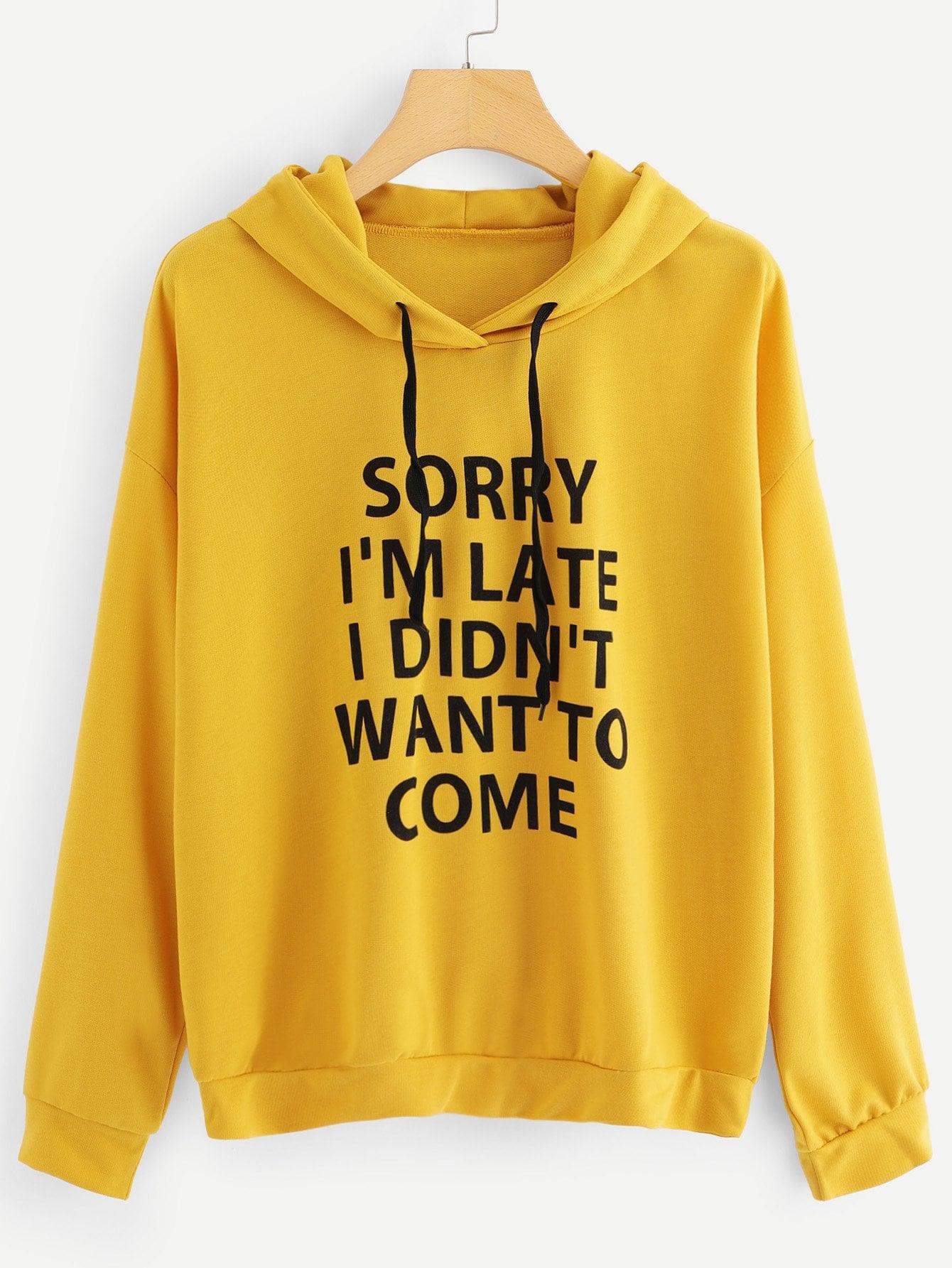 Купить Кокетливый стиль Текст на кулиске Пуловеры Имбирный Свитшоты, null, SheIn