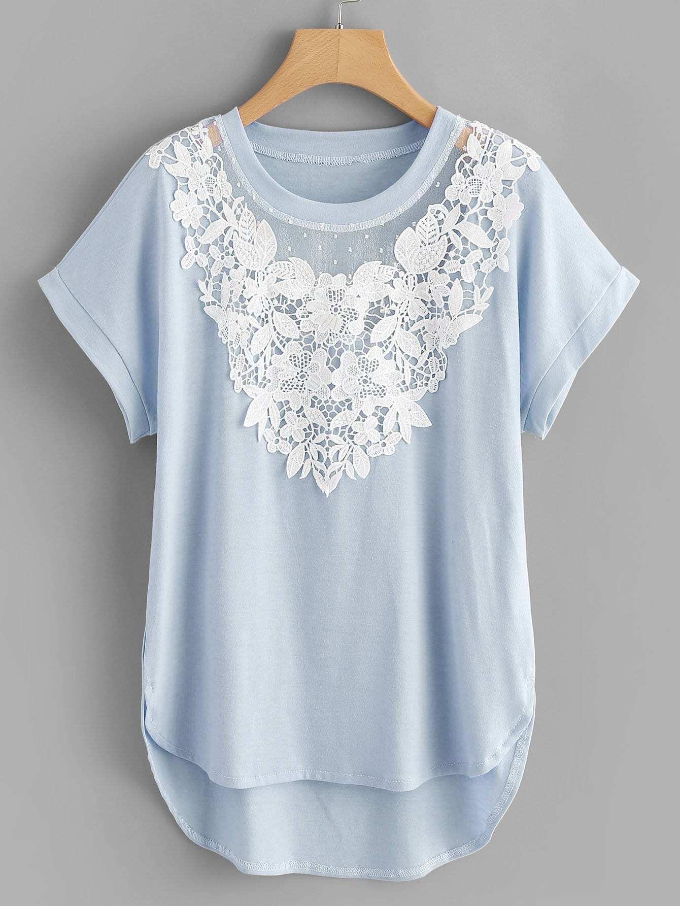 Plus Contrast Lace Asymmetrical Hem Tee