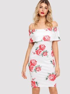 Off Shoulder Form Fitting Floral Dress