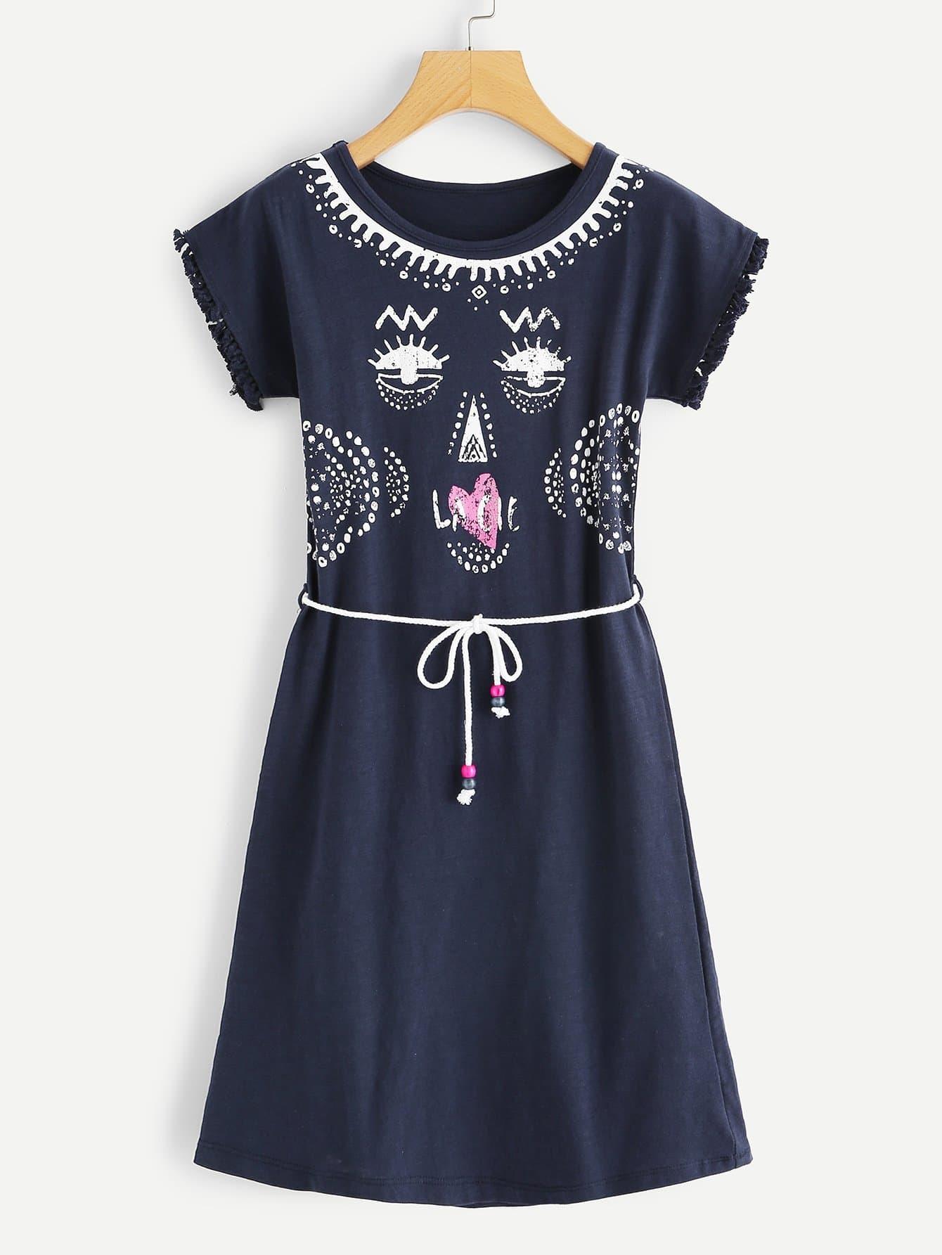 Купить Лицо для печати Tassel Hem Dress, null, SheIn