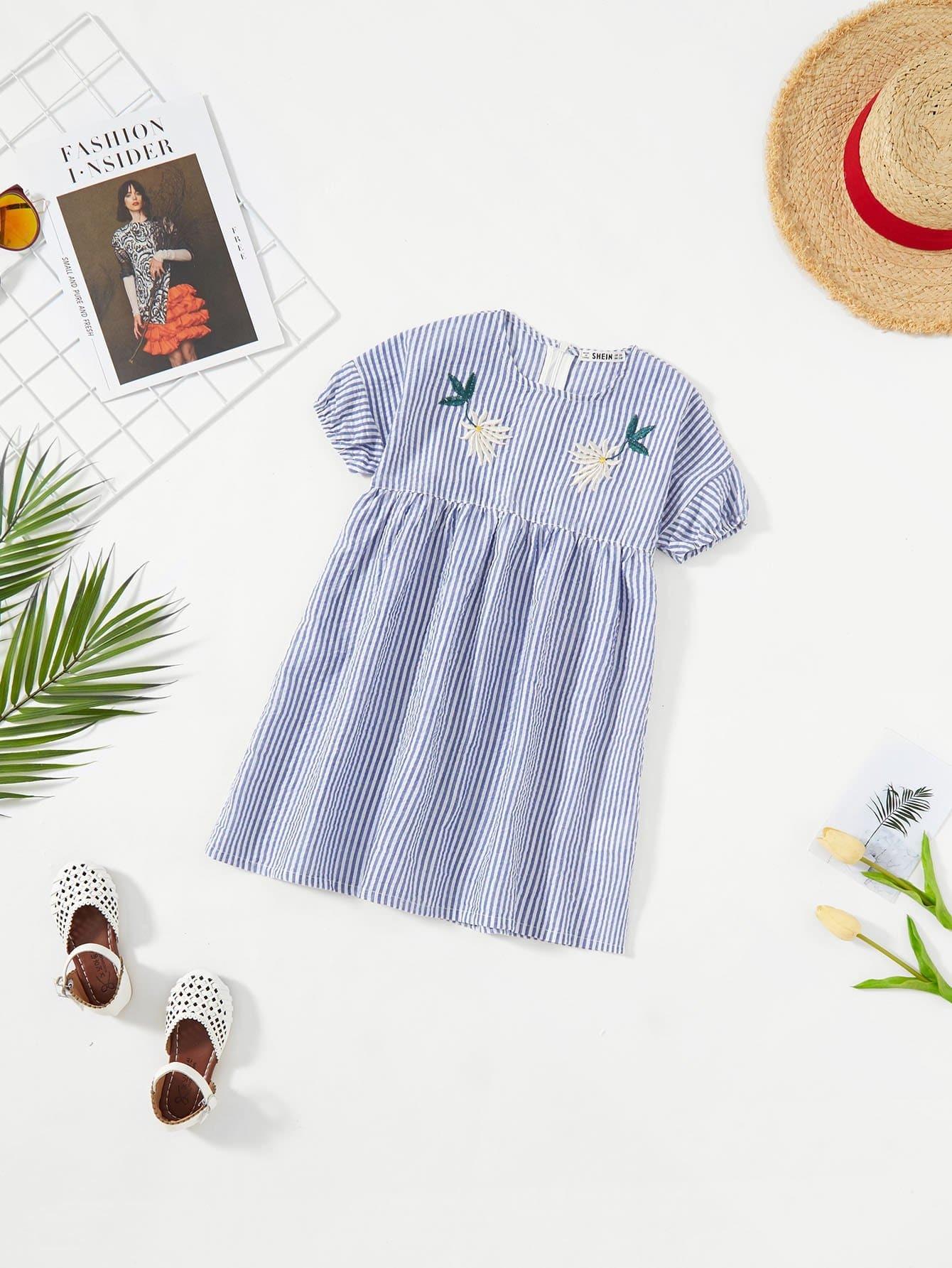 Купить Платье для девочек с вышивкой для девочек, null, SheIn