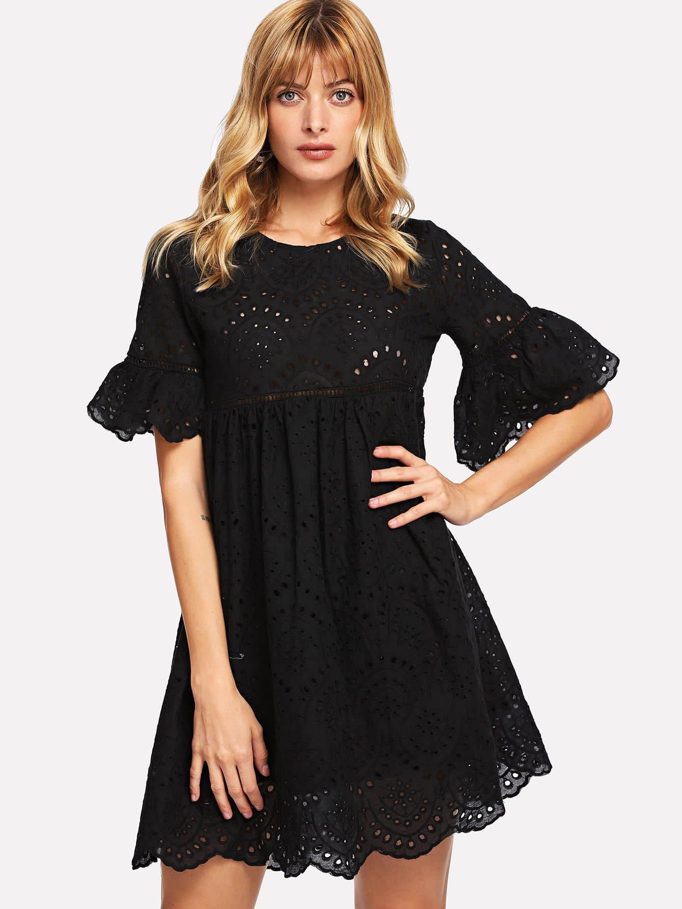 Купить Платье с вышивкой из вышитого шнурка, Masha, SheIn