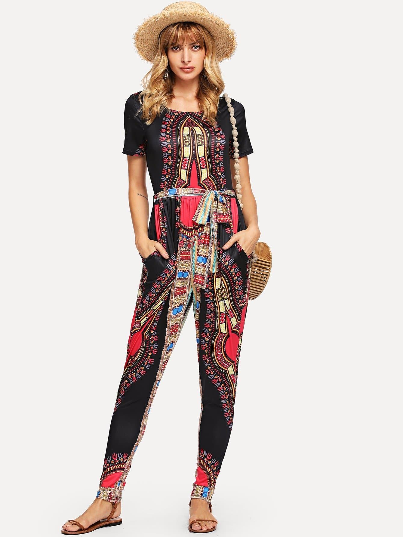 Купить Изысканная печать Skinny Jumpsuit, Masha, SheIn