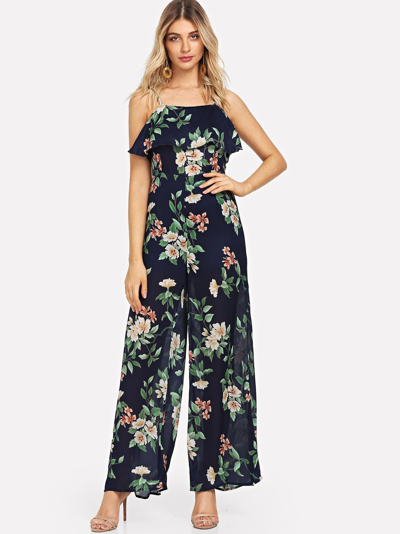 Knot Flower Print Wide Leg Jumpsuit цены