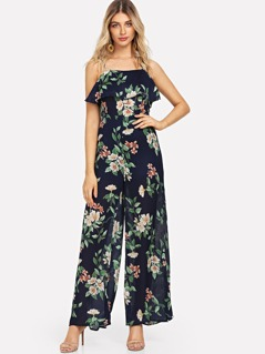 Knot Flower Print Wide Leg Jumpsuit