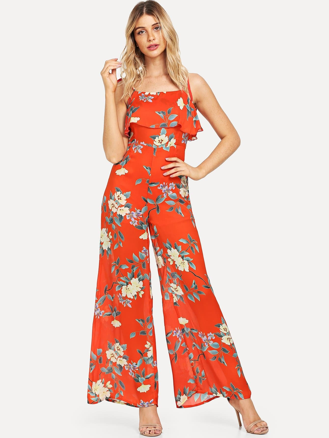 Knot Flower Print Wide Leg Jumpsuit girls flower embroidered wide leg jumpsuit