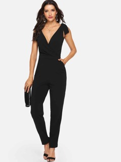 Shoulder Knot Solid Shell Jumpsuit