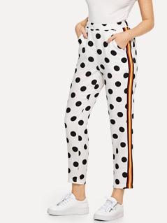 Striped Side Polka Dot Pants