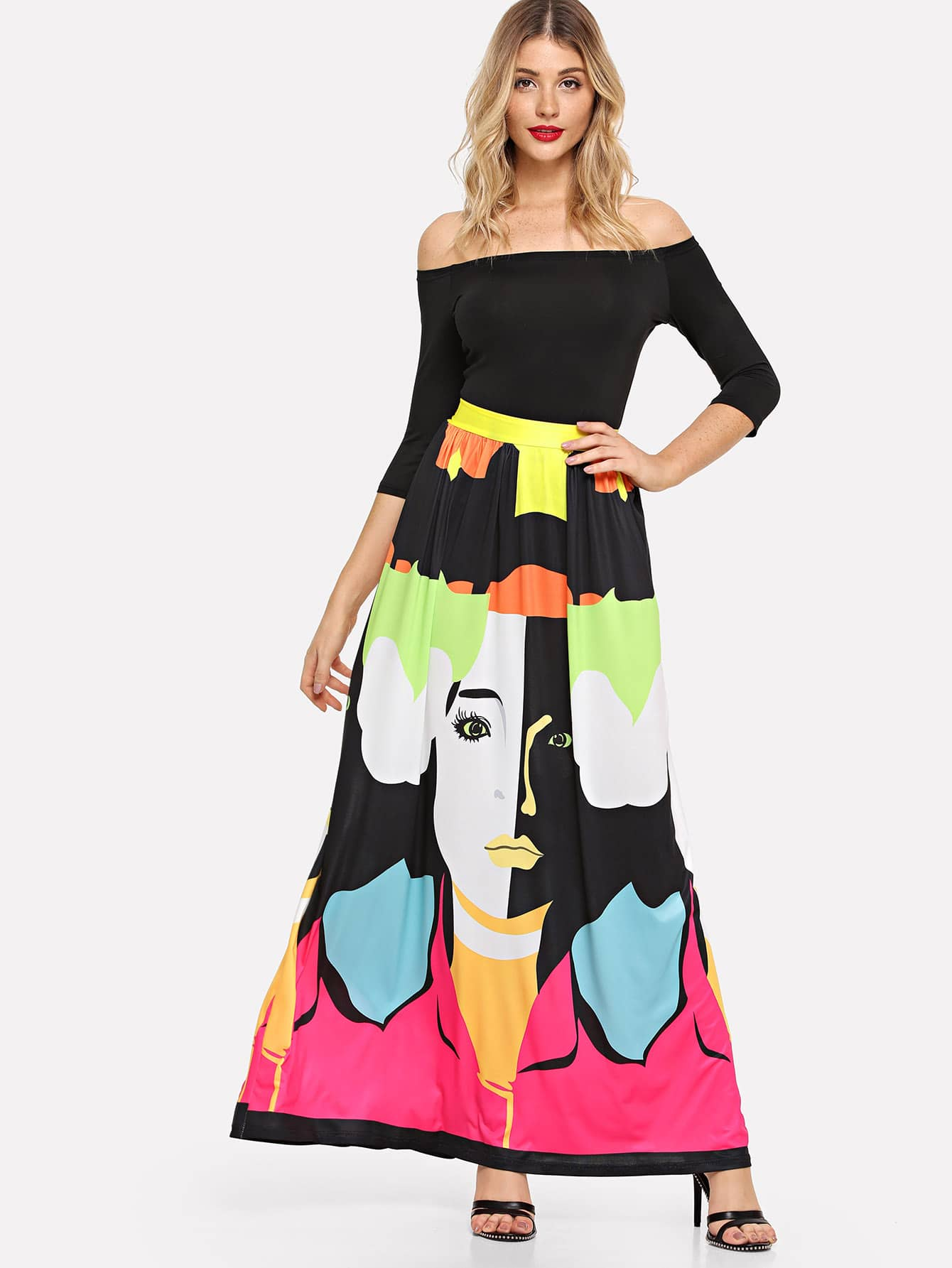 Купить Комплект для юбки из толстого барда и печати, Nathane, SheIn