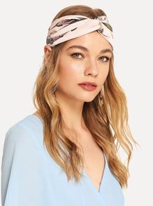 Belt & Horse Print Twist Headband