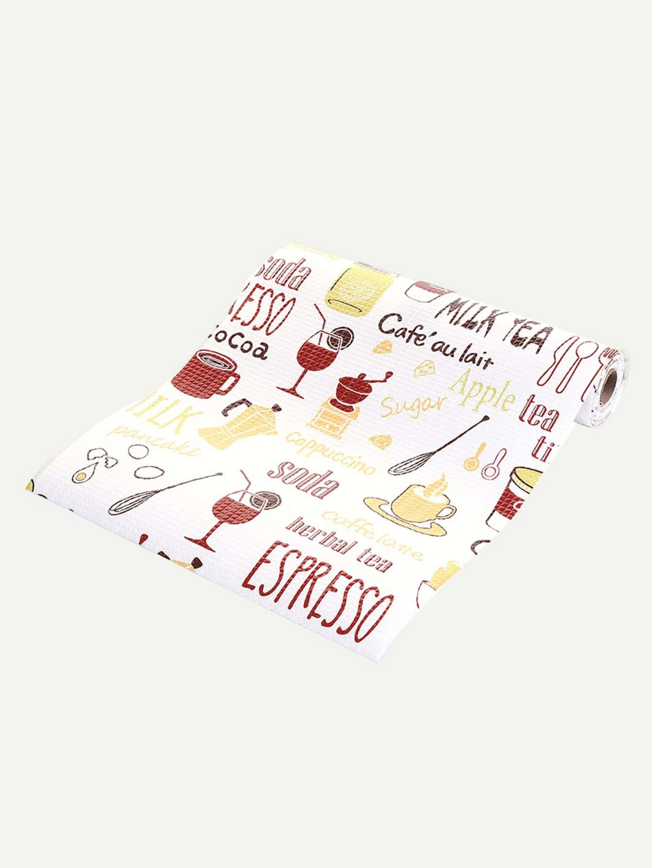 Tableware Print Cabinet Mat random tableware print kitchen mat 1pc