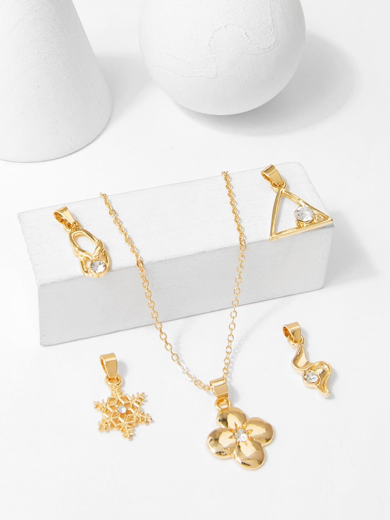цена на Snowflake & Triangle Detachable Necklace 5pcs
